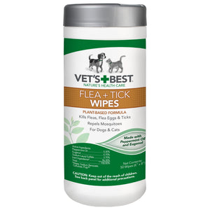 Vet's Best Flea + Tick Dog & Cat Wipes, 50 count