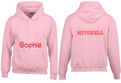 personalised pink hoodie kids to adult sizes