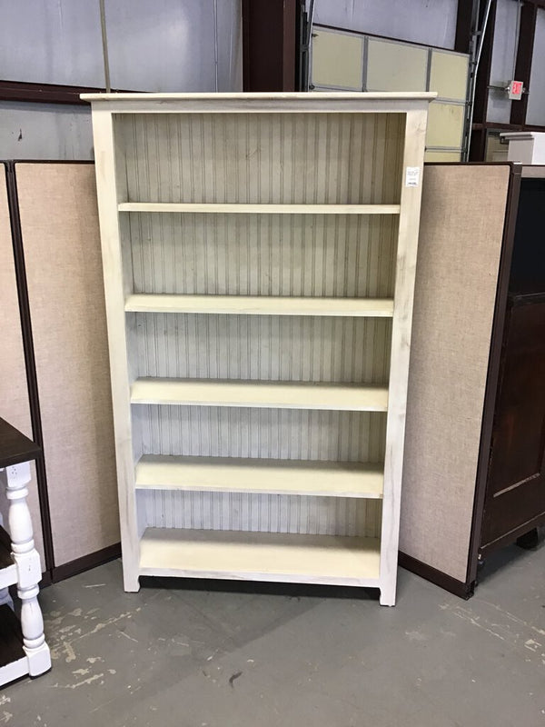 "Large White Distressed Bookcase - 44""w x 13""d x 72""h"