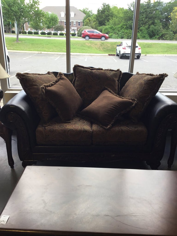 Faux Brown Leather/Paisley Loveseat