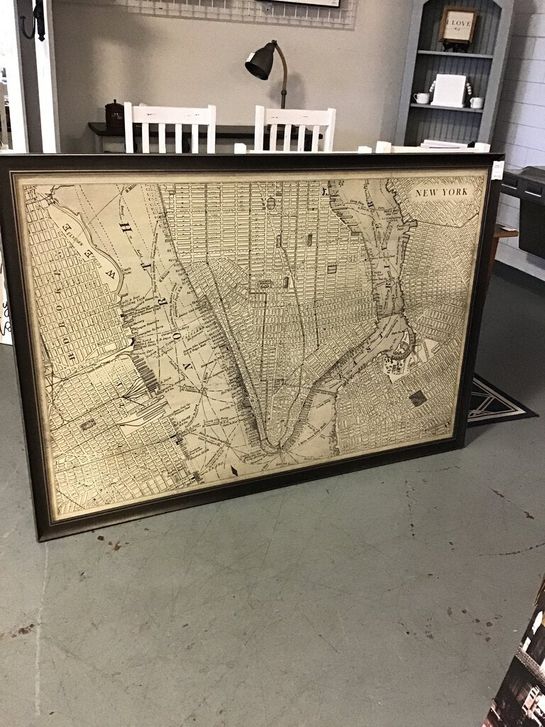 "Framed Map of New York - 44"" x 64"""