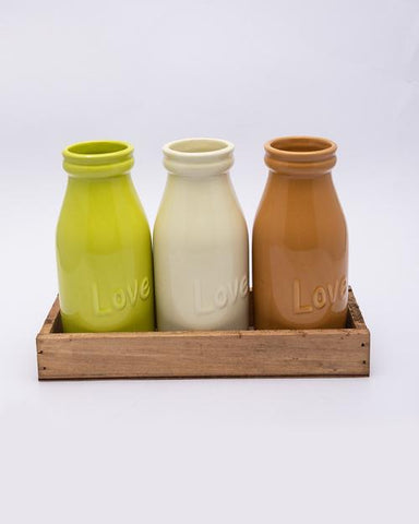 Vases with Wooden Tray