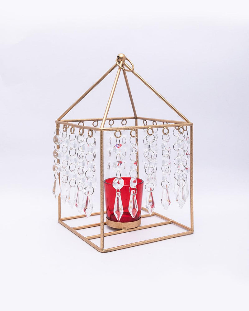 VON CASA Geo T-Light Candle Holder, Clear Crystal Votive Holder, Red Votive, Gold Finish, Mild Steel