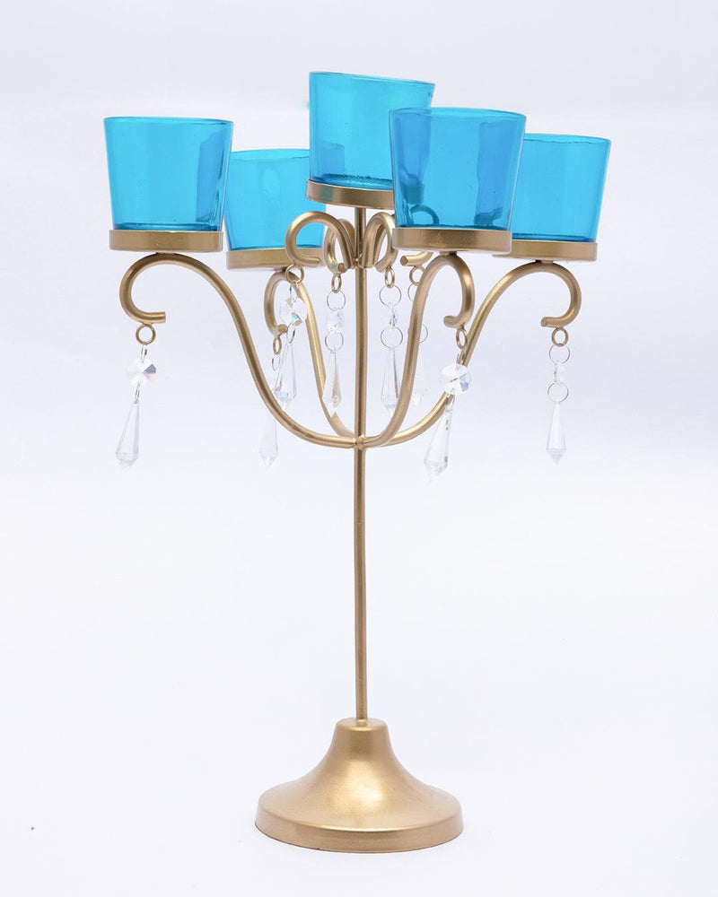 VON CASA 5 Arms T-Light Candle Holder, Turquoise Votive, Clear Crystal, Gold Finish, Mild Steel