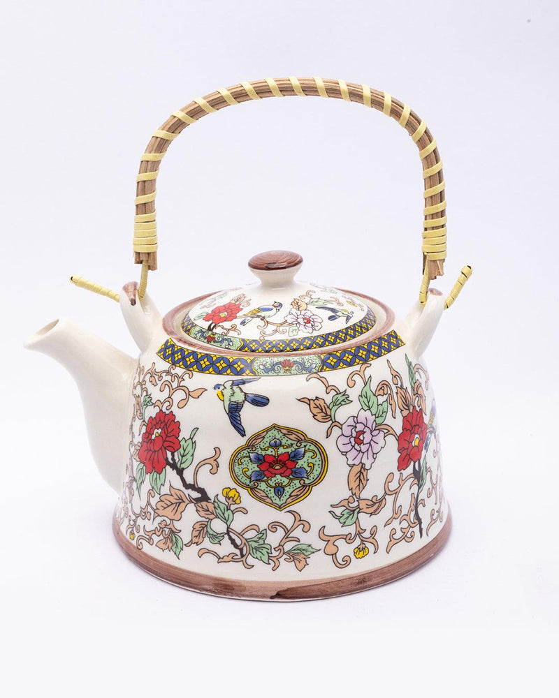 Teapot, with Steel Strainer, for Home & Office, Ancient Design Pattern, Multicolour, Ceramic, 1 Litre