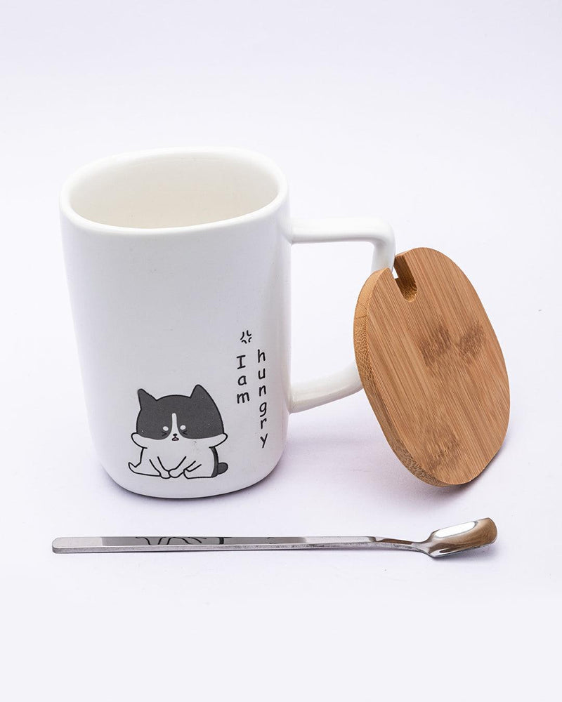 Mug with Lid & Spoon, Tea & Coffee Mug, White, Ceramic, 360 mL