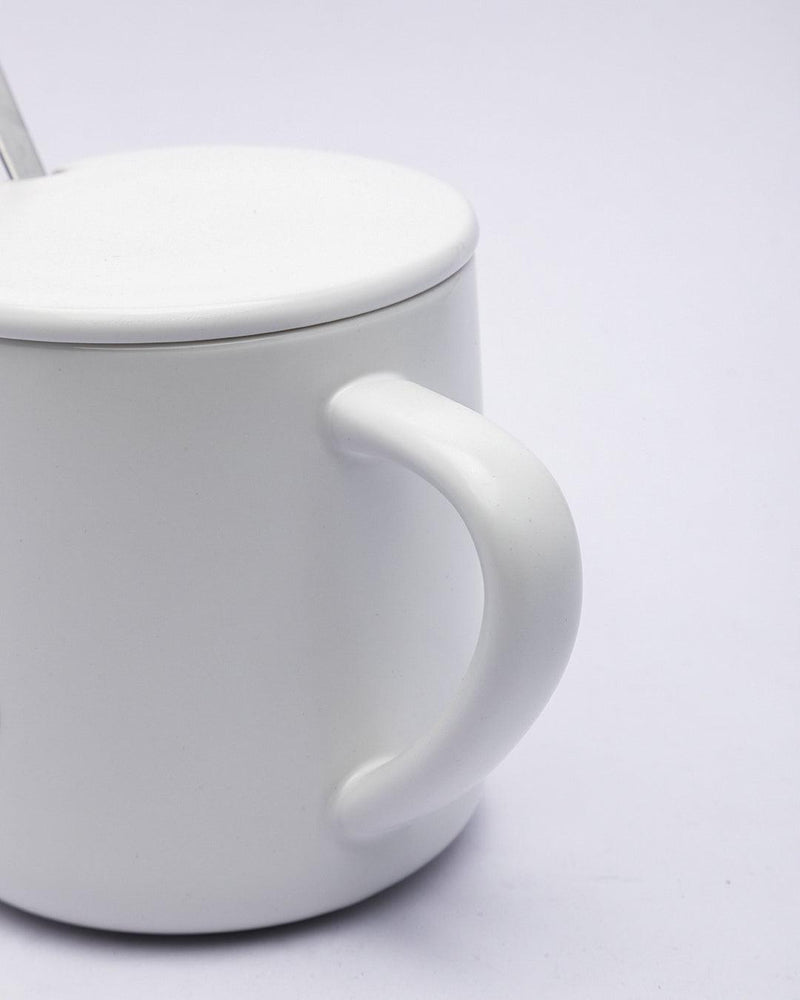Mug, with Lid & Spoon, Tea & Coffee Mug, White, Ceramic, 380 mL