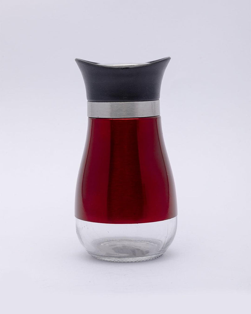 Salt & Pepper Set, Red, Stainless Steel, Glass, Set of 2, 120 mL