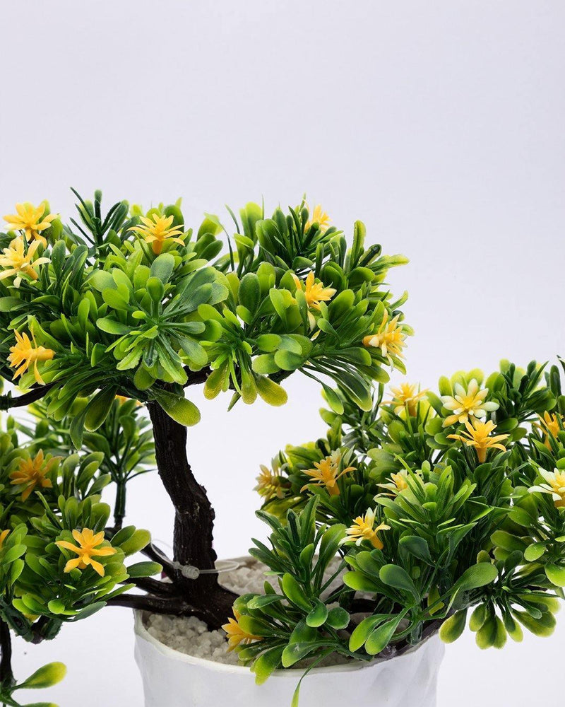 Artificial Flower Plant with White Pot, Bonsai, Yellow & Green, Plastic Plant
