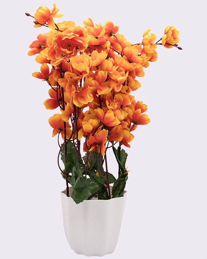 Artificial Flower Plant with White Pot, Blossoms, Orange, Plastic Plant