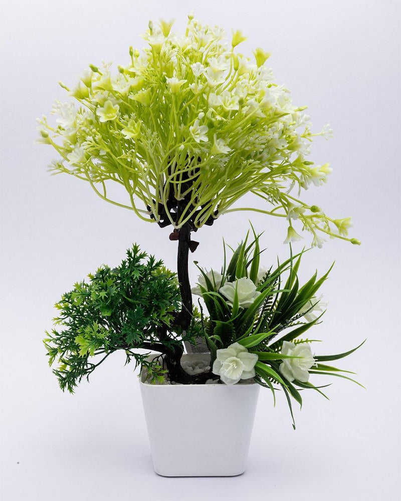 Artificial Flower Plant with White Pot, Green, Plastic Plant