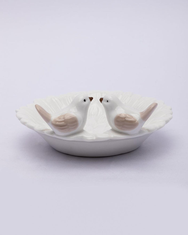Jewellery Holder Tray, Crafted Bird, for Dressing Table, Ring Dash, Round, White, Ceramic