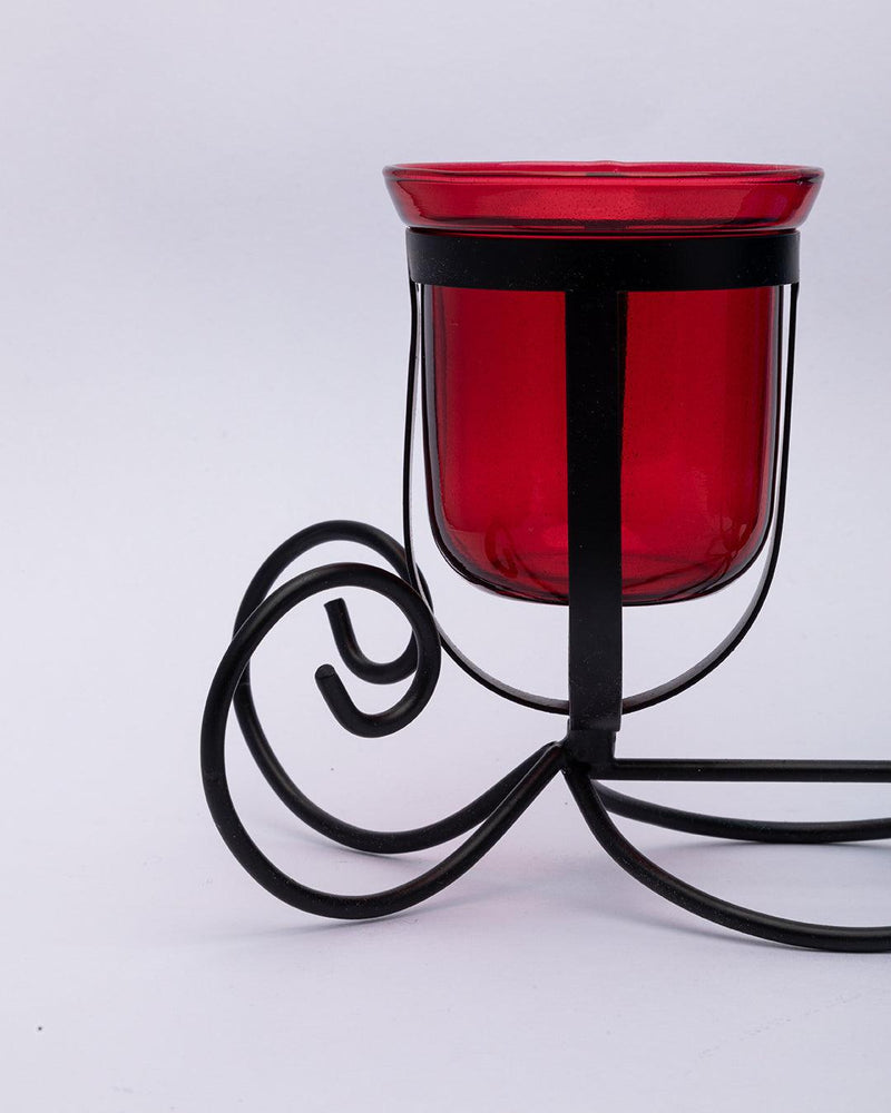 VON CASA 3 T-Light Candle Holder, Multicolour Votive Holder, Modern Design, Black Finish, Mild Steel