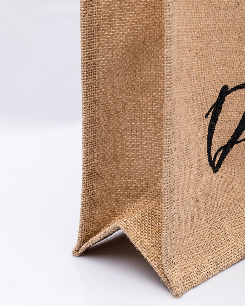 Donati Jute Bag, Natural Jute Finish, Dori Handle, Printed Bag, Black & Natural Colour, Jute