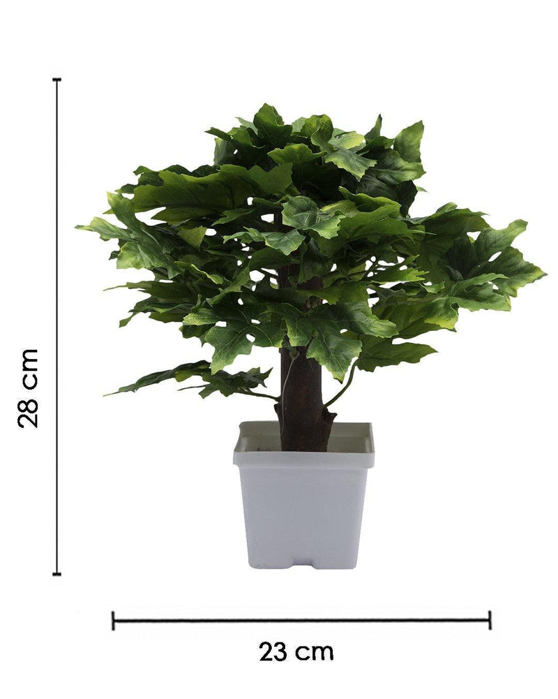 Artificial Plant with White Pot, Green, Plastic Plant