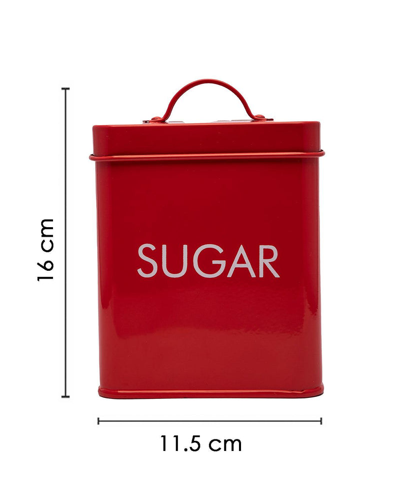 Metal Storage Jar, Sugar Jar, Red, Iron, 1.7 Litre