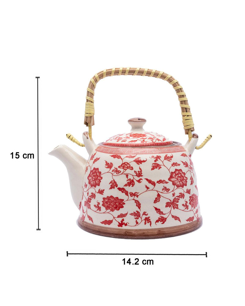 Teapot, with Steel Strainer, for Home & Office, Ancient Design Pattern, Red, Ceramic, 1 litre