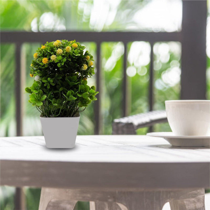 Artificial Plant with White Pot, Yellow, Plastic Plant