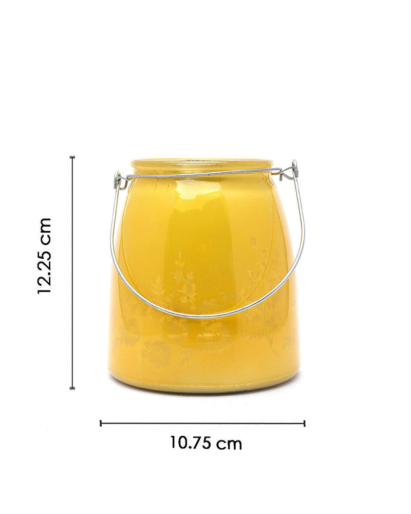 VON CASA Glass T-Light Holder, for Table, Hanging, Indoor & Outdoor Decor, Yellow, Glass