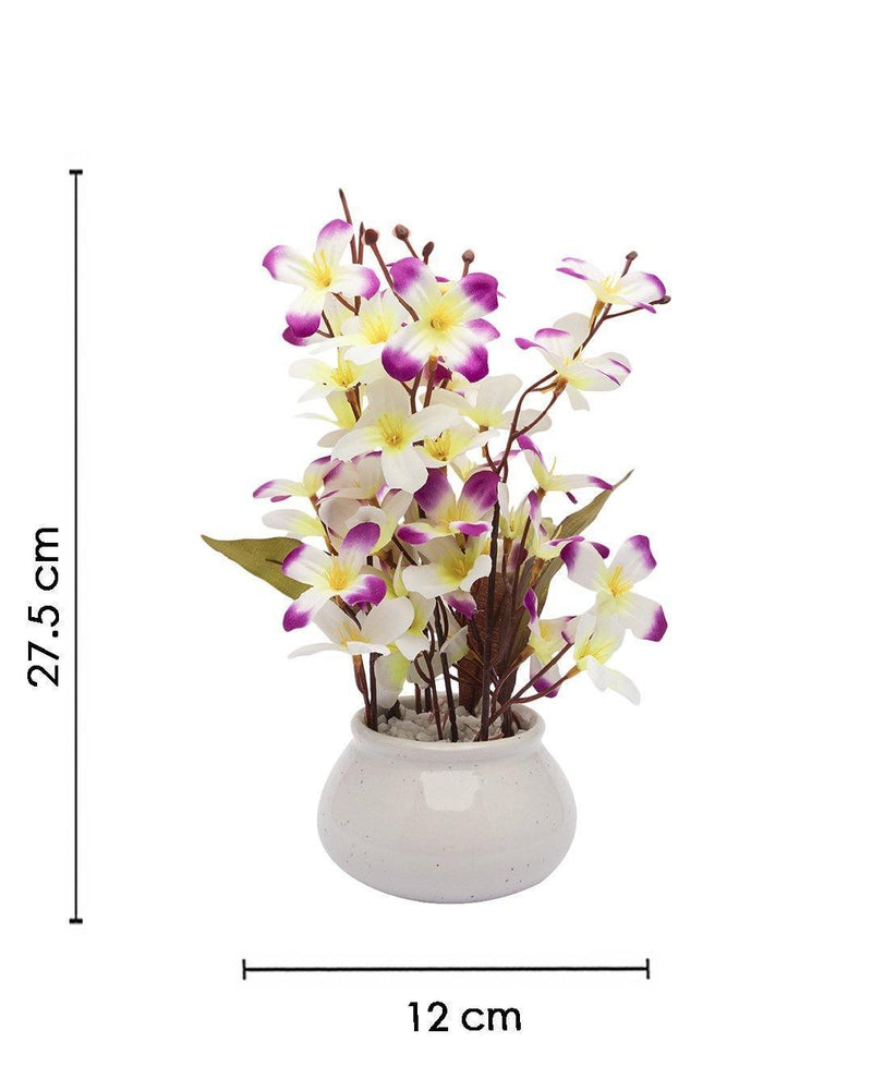 Artificial Plant, Orchid Flower, with Handi Shaped Ceramic Pot, Purple, Plastic Plant
