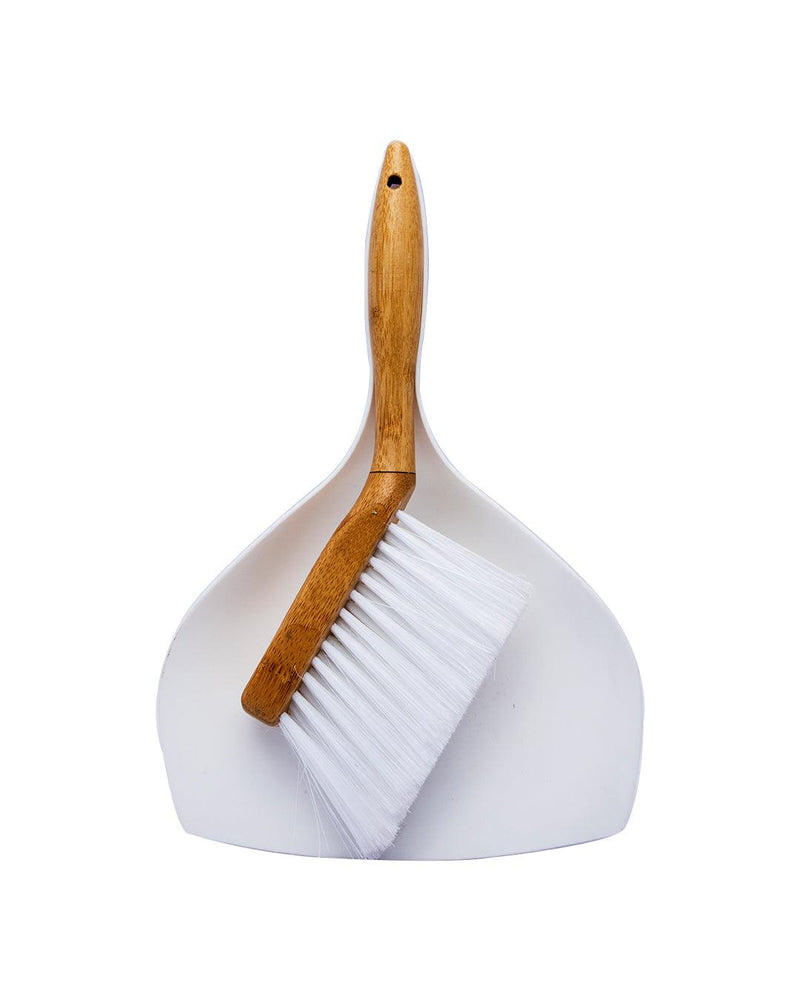 VON CASA Brush & Dustpan Set, Natural Bamboo Brush, for Cleaning Kitchen & Bathroom, White Colour, Plastic