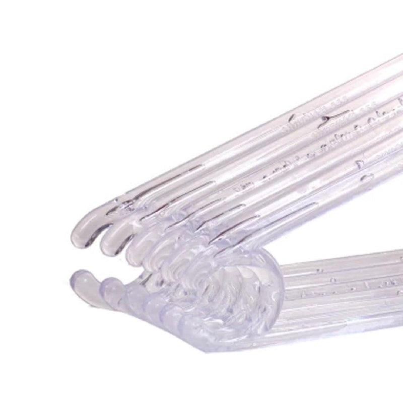Clothes Hangers, Transparent, Heavy Duty, Clothing Standard Hangers, Plastic, Set of 10