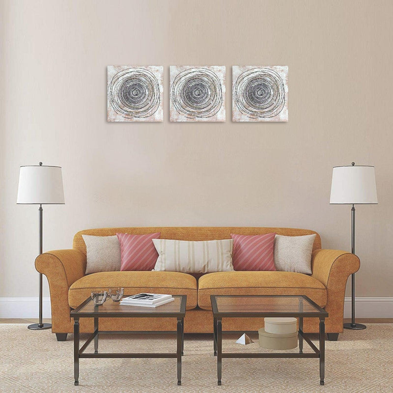 VON CASA Hand Painted Circles, Painting, on Canvas, Gallery Wrapped, Modern Artwork, for Office & Home Décor, White & Grey, Canvas Fabric