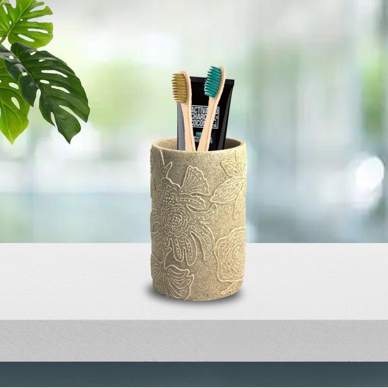 VON CASA Toothbrush Holder, Stone Finish, Embossed Leaf Design, for Toothbrush, Toothpaste, Shaving Blade, Personal Care accessories, Polyresin