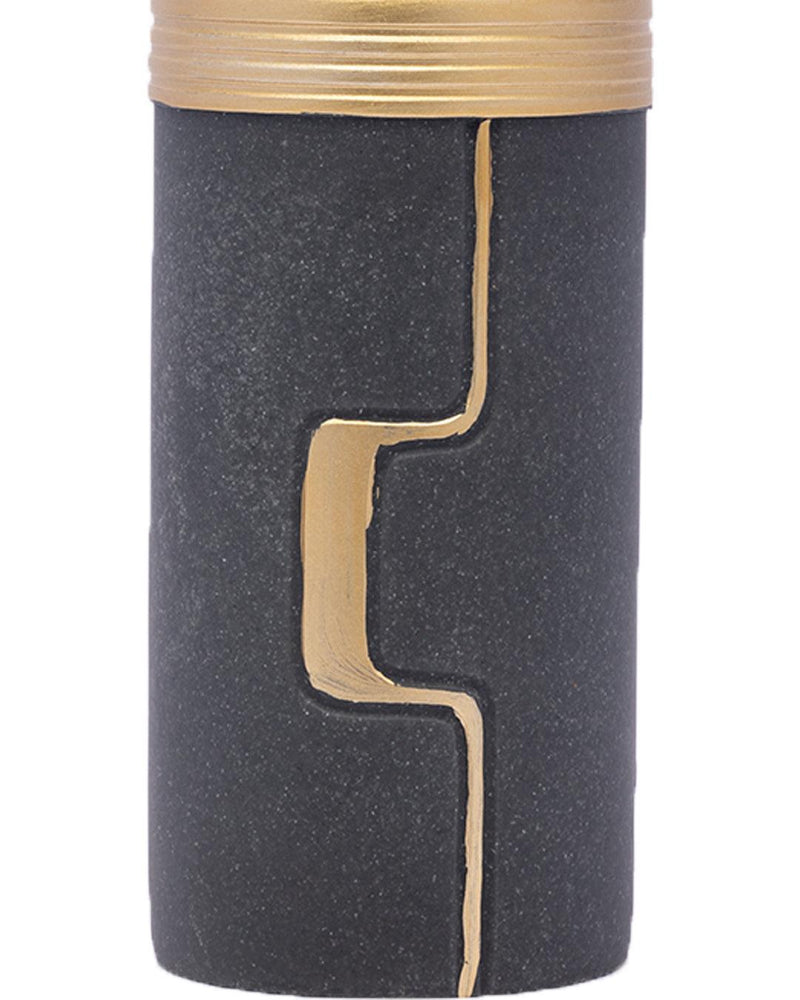 VON CASA Soap Dispenser, Large Size, Modern Age Design, Hand & Dish Soap Dispenser, Gold & Black, Polyresin, 420 mL