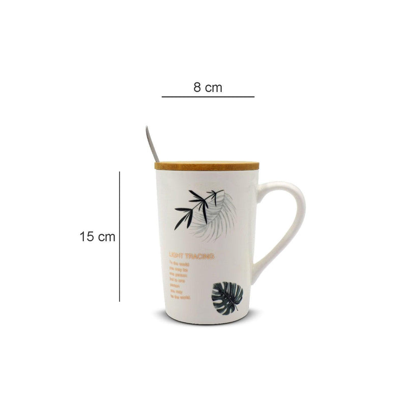 Mug with Lid & Spoon, Tea & Coffee Mug, Botanical Print, White, Ceramic, 360 mL