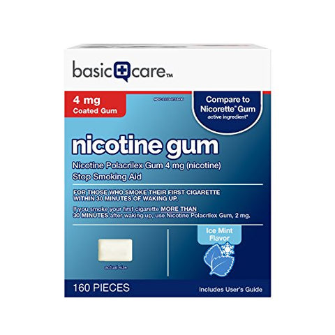 Amazon Basic Care Nicotine Polacrilex Coated Gum 4 mg (nicotine), Ice Mint Flavor, Stop Smoking Aid; quit smoking with nicotine gum, 160 Count