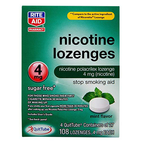 Rite Aid Mint Nicotine Lozenges, 4mg - 108 Lozenges | Quit Smoking Products