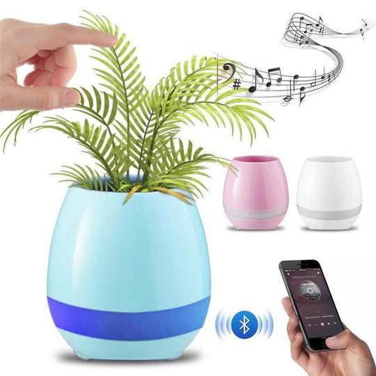 Bluetooth Speaker Music Pot Real Plant Flower Smart Touch Light Colour Decor
