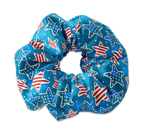 Flag Stars Scrunchie, 4th Of July, Memorial Day - Sunfloura Scrunchies
