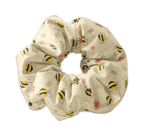 Cute Kawaii Bumble Bee Pattern Scrunchie Hair Tie, Honey Bee