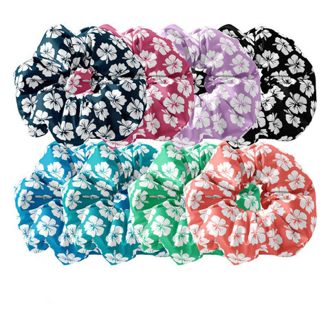 Hawaiian Tropics Hibiscus Floral Pattern Scrunchie Hair Tie,