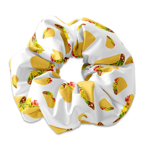 Tacos Pattern Scrunchie Hair Tie, Taco Bout it Hair Bow Ribbon, Taco Scrunchy Hair Accessory, Taco Scrunchys, Taco Scrunchie Hair Ties - Sunfloura Scrunchies
