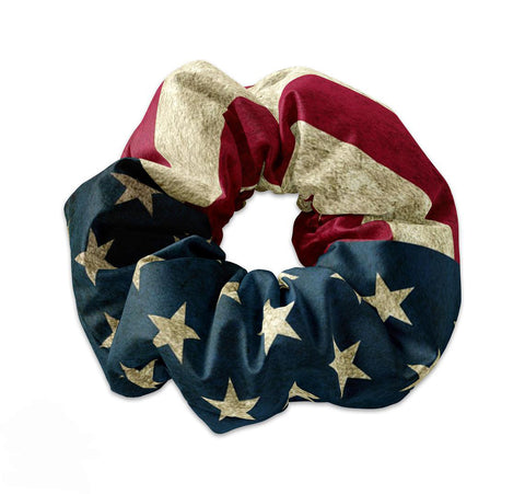 Vintage USA Flag Scrunchie Hair Tie, - Sunfloura Scrunchies