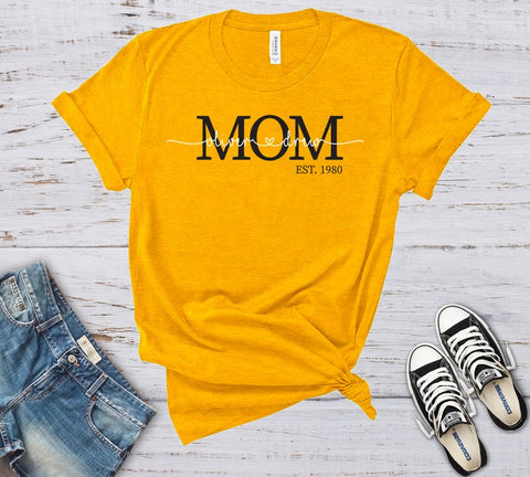 Personalized MOM Established Year with Kids Names Short Sleeve Unisex T-Shirt, Great Mothers Day Gift
