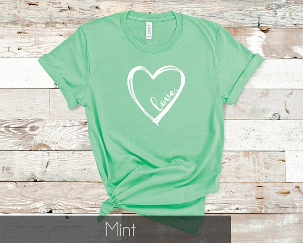 Love Heart Tee Unisex Shirt, Gift for Women, Valentines Day Gift Idea, Cute shirt for Mom or Girlfriend
