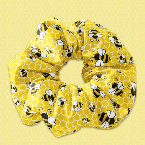 Bumble Bee Yellow Scrunchie Hair Tie, Honey Bee Scrunchy Hair Tie Accessory, Bee Scrunchies