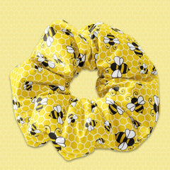 Bumble Bee Yellow Scrunchie Hair Tie, Honey Bee Scrunchy Hair Tie Accessory, Bee Scrunchies - Sunfloura Scrunchies