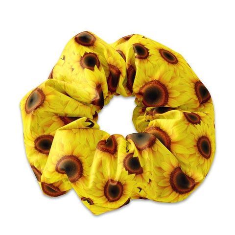 Sunflower Scrunchie Hair Tie, Yellow Sun flowers Scrunchy, Summertime