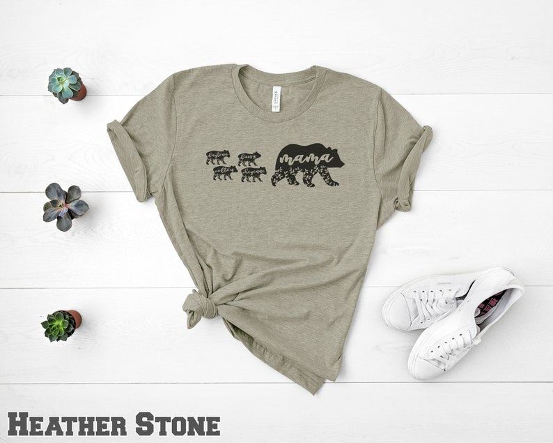 Mama Bear with 0, 1, 2 3, or 4+ Cubs, Available in 8 Colors - Short Sleeve Shirt, Great Mothers Day Gift