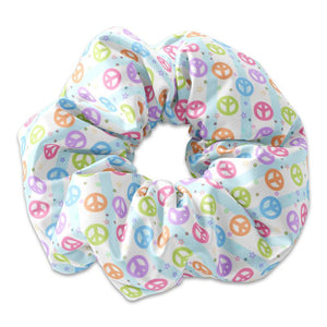Peace Sign Scrunchie Hair Tie, Peace and Love Colorful Scrunchy, Peace Hair Accessory