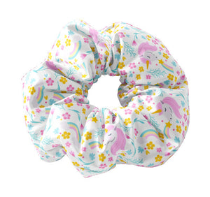 Cute Floral & Rainbow Unicorn Scrunchy Hair Tie, Unicorn Scrunchys, Rainbows and Flowers Scrunchies