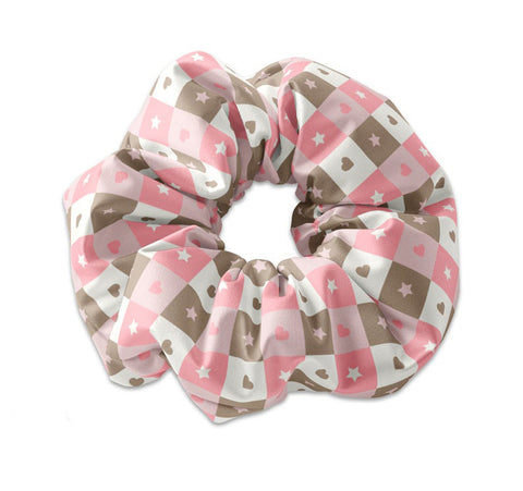 Cute Kawaii Style Checker Pattern Scrunchy, Kawaii Scrunchies
