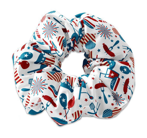 4th of July Festive Theme Scrunchie Hair Tie, Fourth of July Party Scrunchy