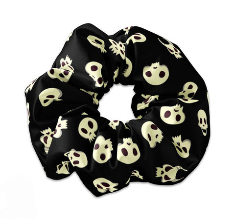 Black Halloween Skulls Themed Sccrunchie - Sunfloura Scrunchies