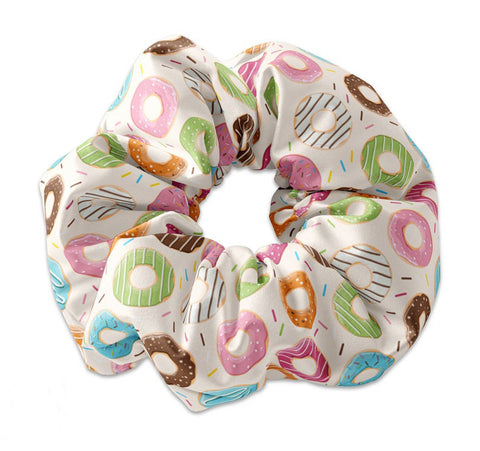 Assorted Donuts Pattern Scrunchie Hair Tie, Doughnut Hair Tie Scrunchy
